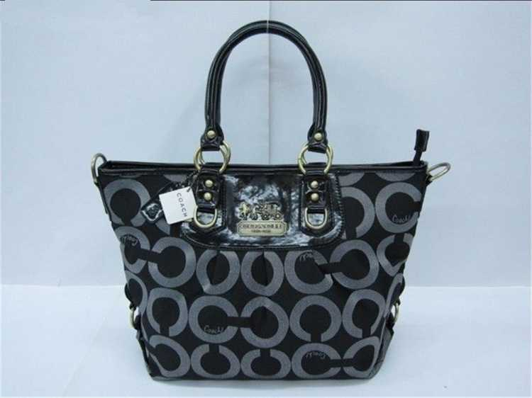 Coach Circle Black Gray Bag