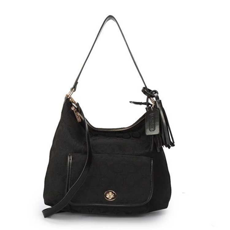 Coach Signature Black Hobo Bag