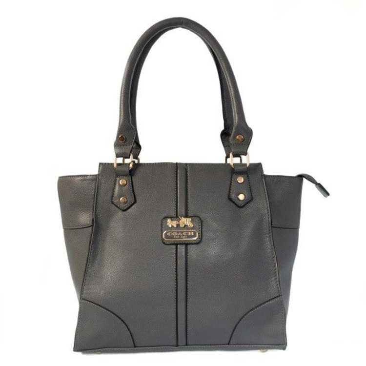 Gray Leather Coach Tote Bag