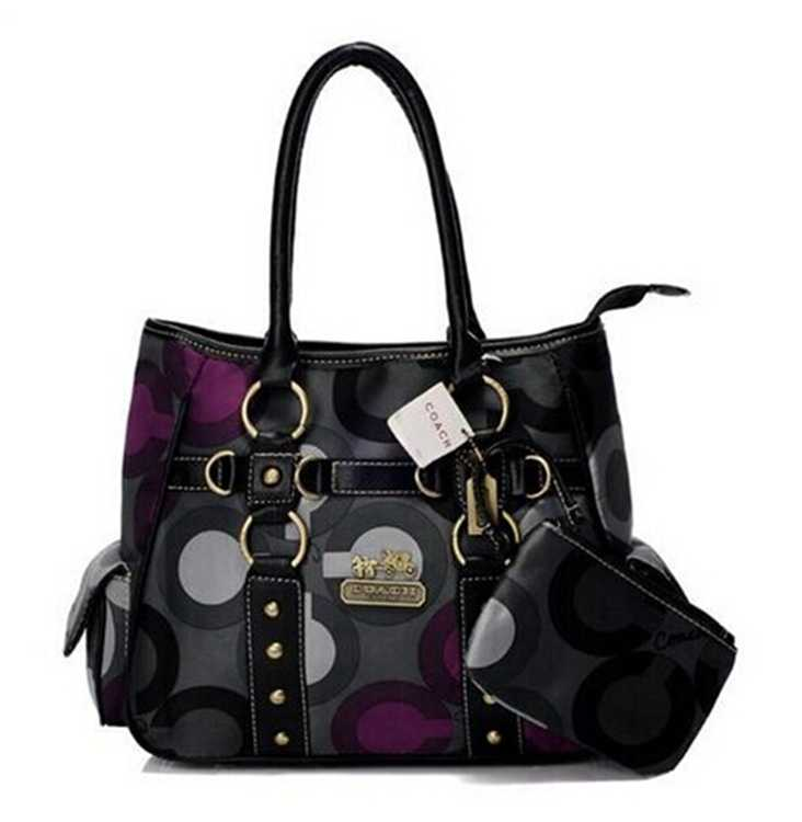 Coach Black Purple Totes