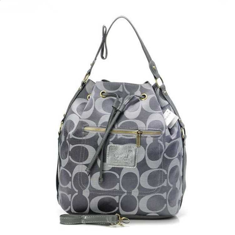 Signature Gray Coach Handbag
