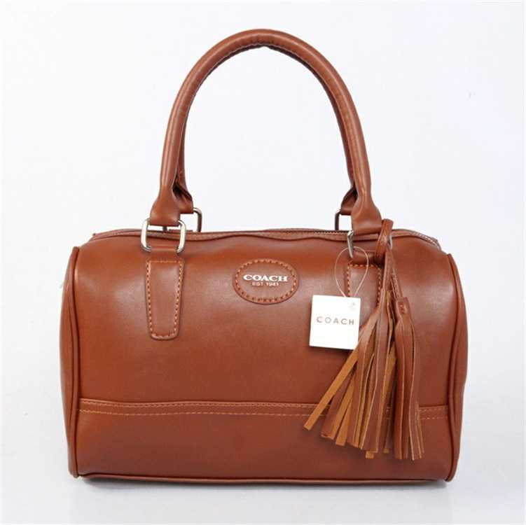 Coffee Leather Coach Handbag