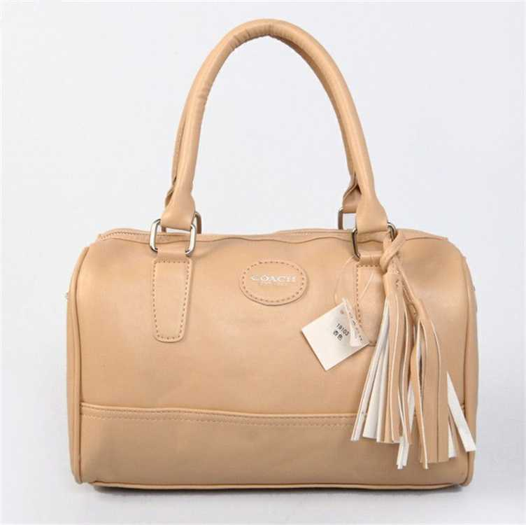 Apricot Leather Coach Handbag