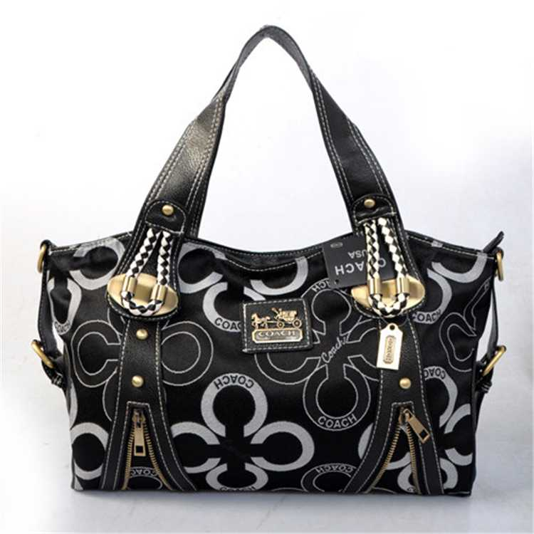 White Black Coach Handbag