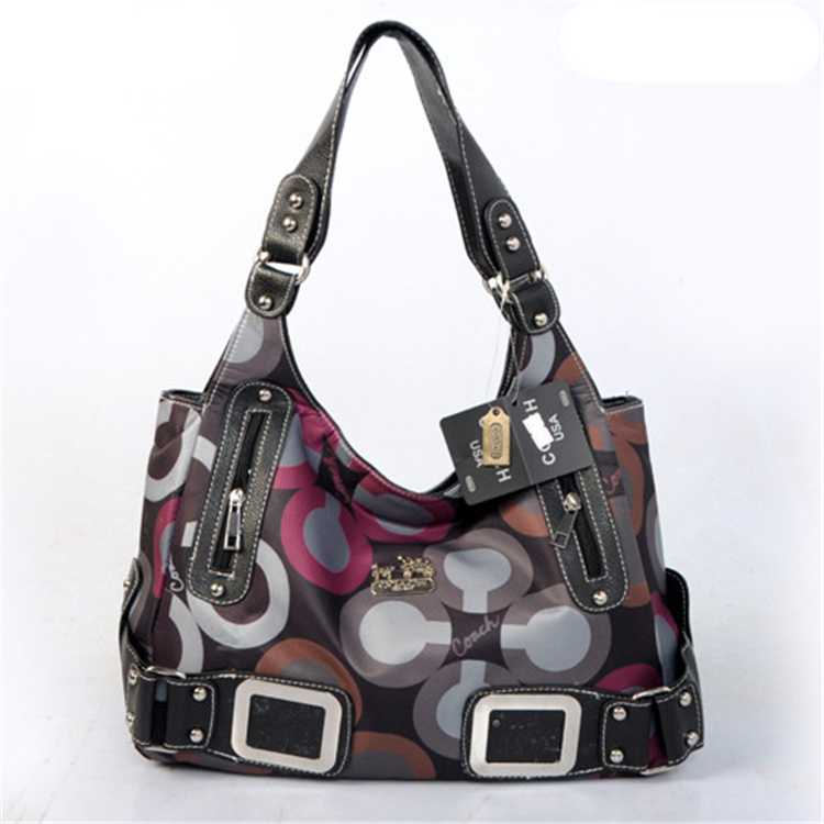 Coach Handbag Black Grey
