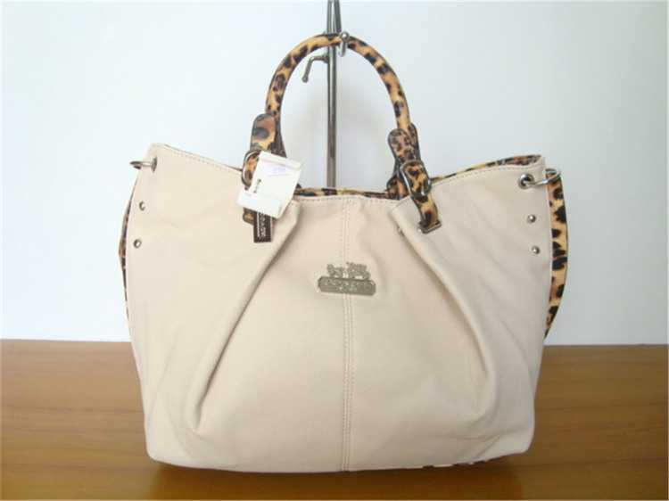 Coach Handbag Beige Leather