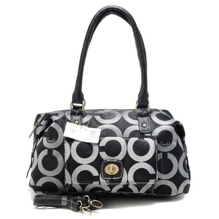 Circle Black White Tote Bag Coach