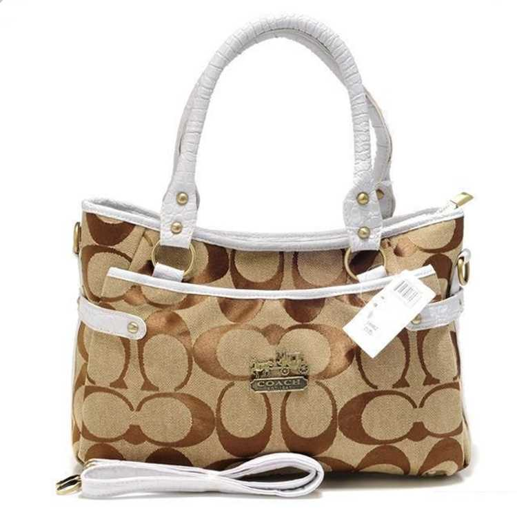 White Brown Tote Bag Coach
