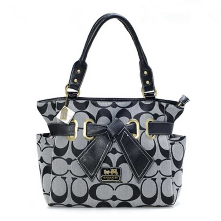 Tote Coach Grey Black Bag