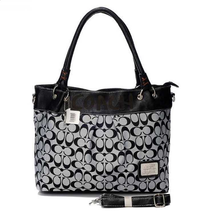 Tote Handbag Black White Coach