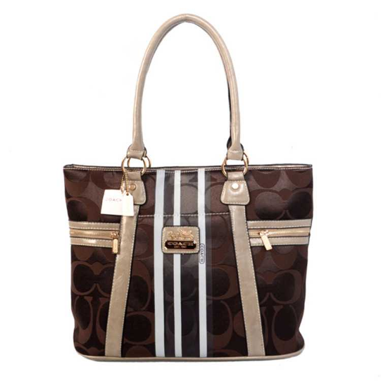 Tote Handbag Brown Beige Coach