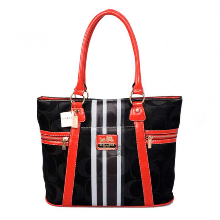 Tote Handbag Red Black Coach