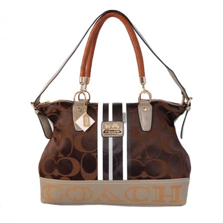 Tote Handbag White Brown Coach