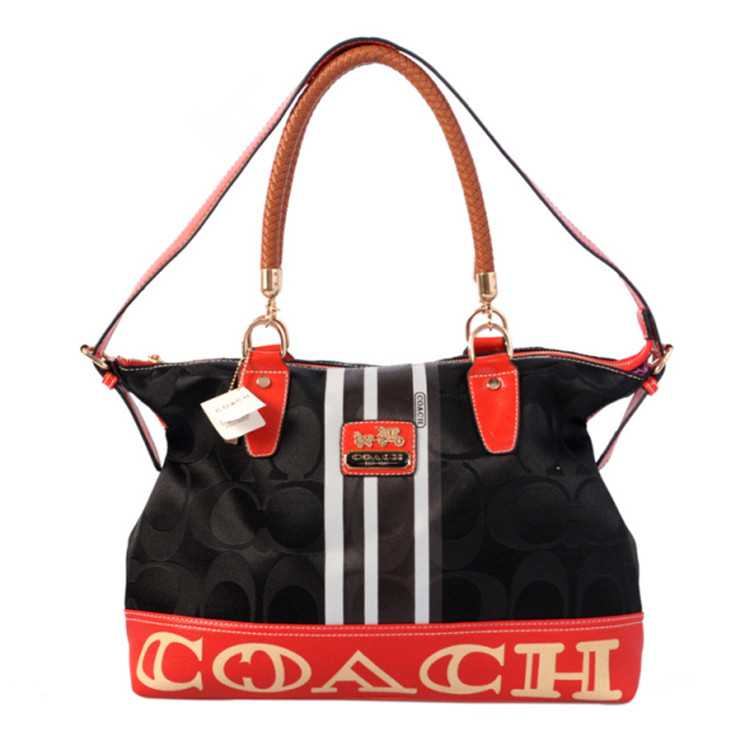 Tote Handbag Black Red Coach