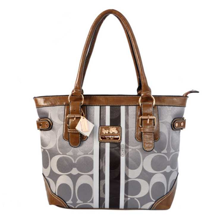 Tote Handbag Coach Brown Gray