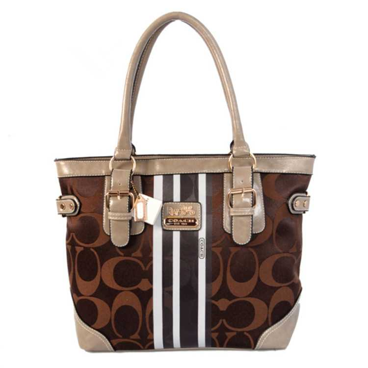 Tote Handbag Coach Chocolate White