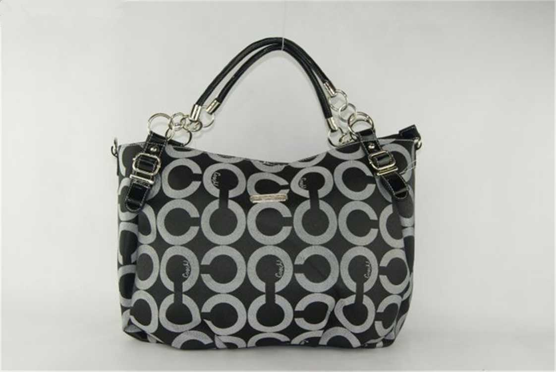 Coach Black White Circle Hobo Bag