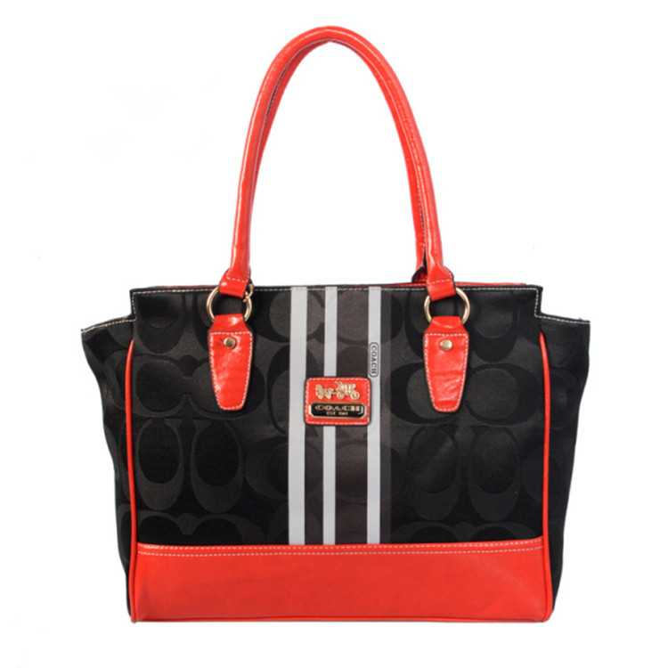 Tote Handbag Coach Black Red