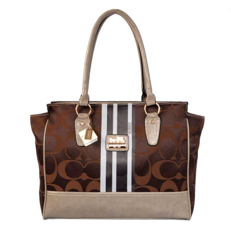 Tote Handbag Coach Brown White