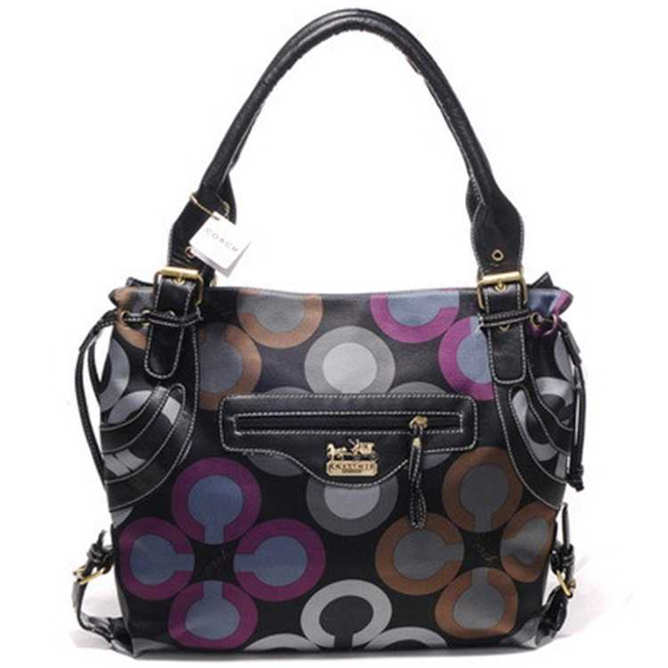 Tote Handbag Coach Black Purple