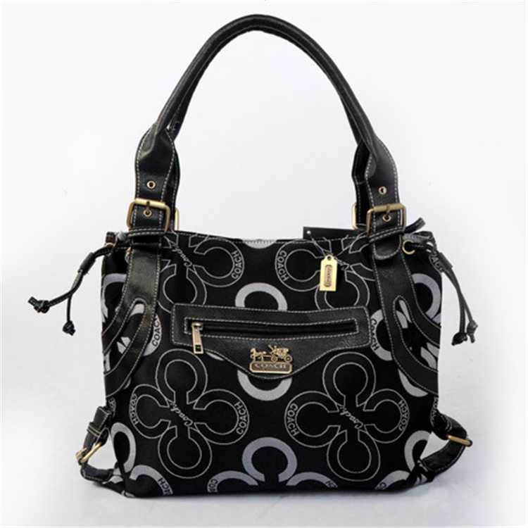 Tote Handbag Coach Black White