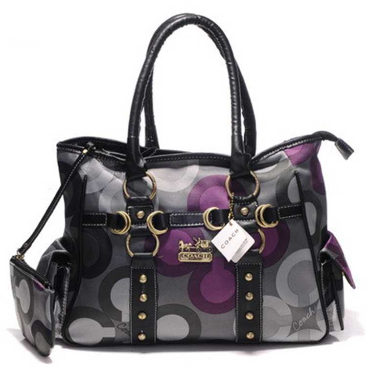 Tote Handbag Coach Gray Purple