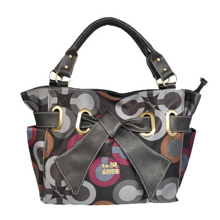 Black Gray Tote Handbag Coach