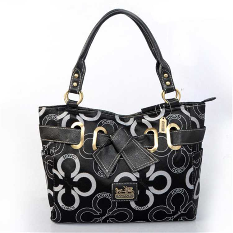 White Black Tote Handbag Coach