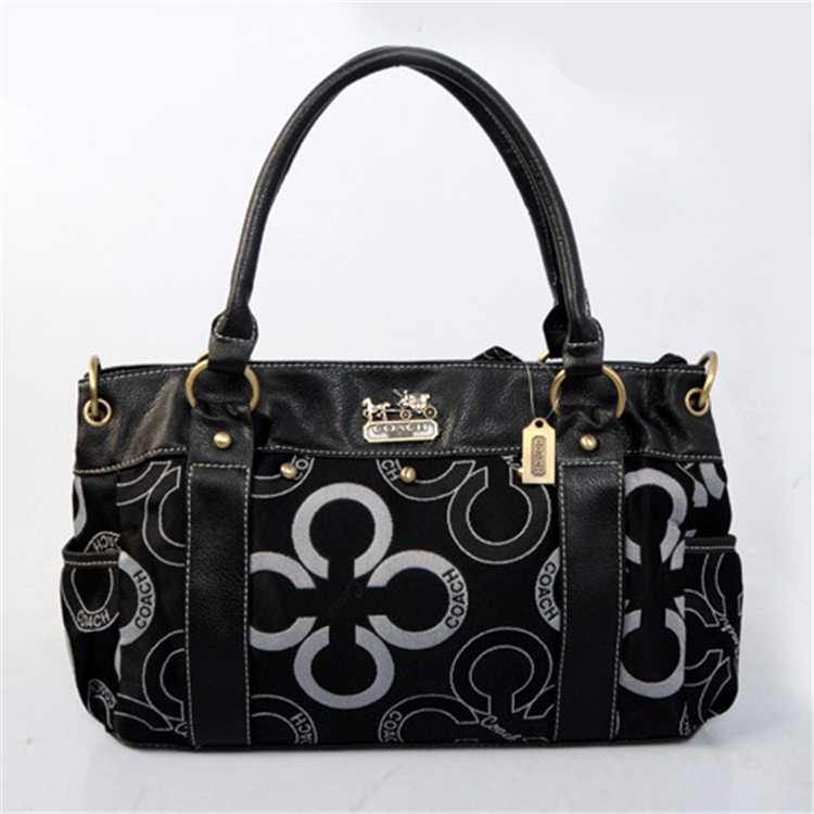 Circle Black Tote Handbag Coach