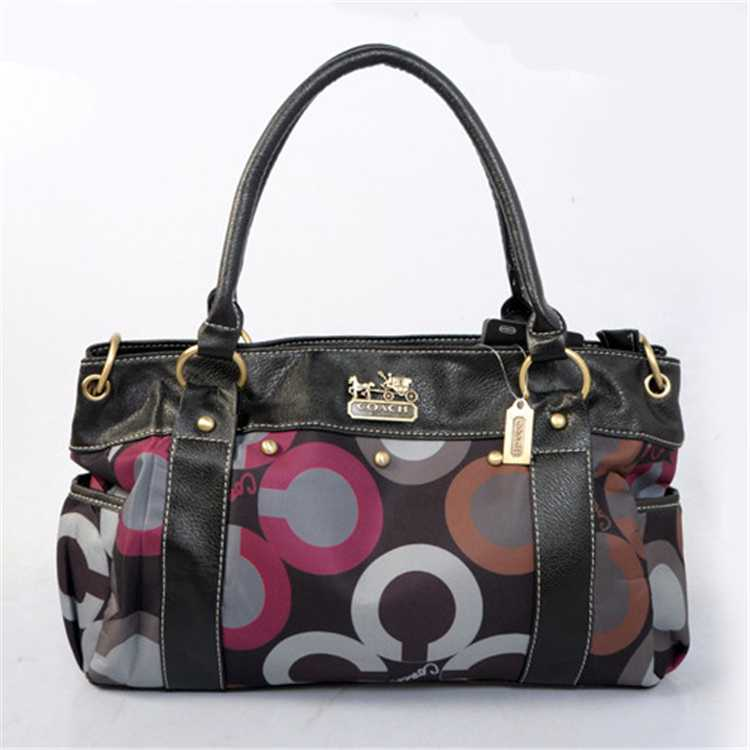 Black Grey Tote Handbag Coach