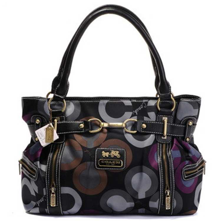 Circle Brown Black Tote Handbag Coach