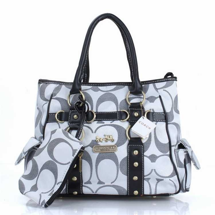 White Gray Tote Handbag Coach