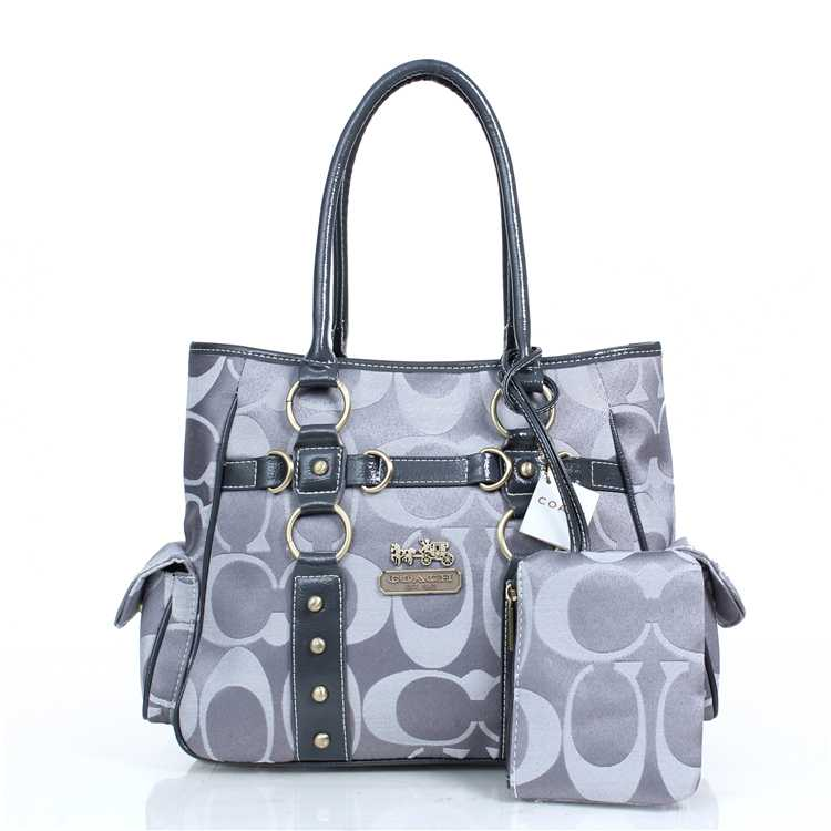 Grey White Tote Handbag Coach