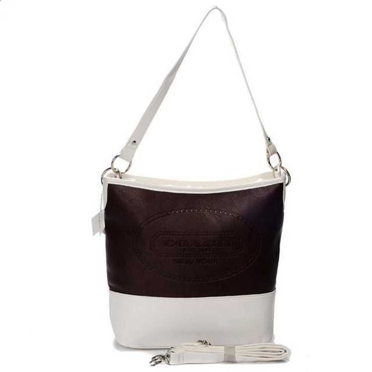 Coach White Brown Hobo Bag
