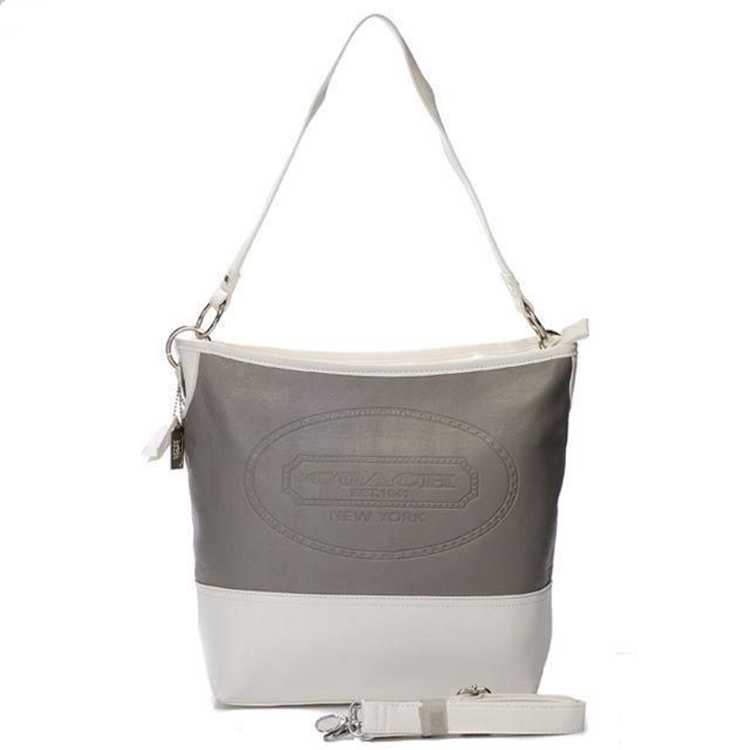 Coach White Gray Hobo Bag