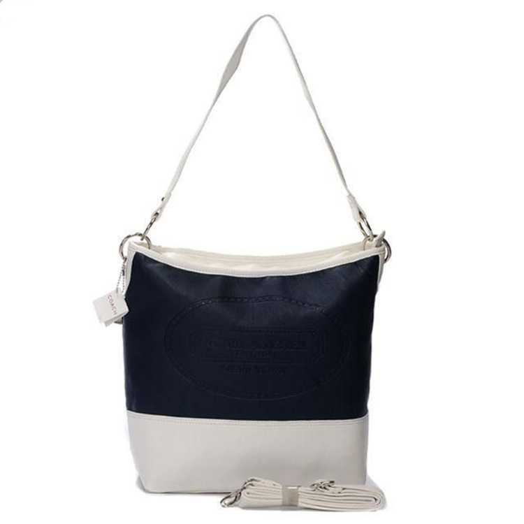 Coach White Navy Hobo Bag