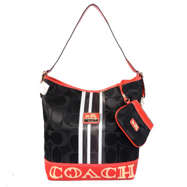 Coach Signature Black Red Hobo Bag