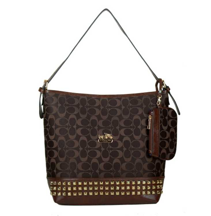 Signature Chocolate Coach Hobo Bag