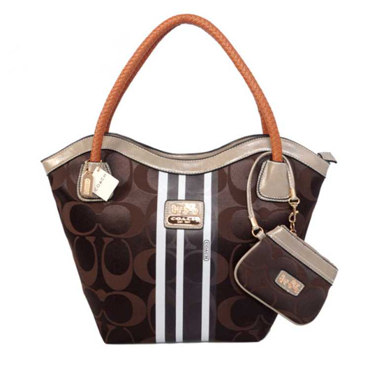Coach Chocolate White Madison Bag