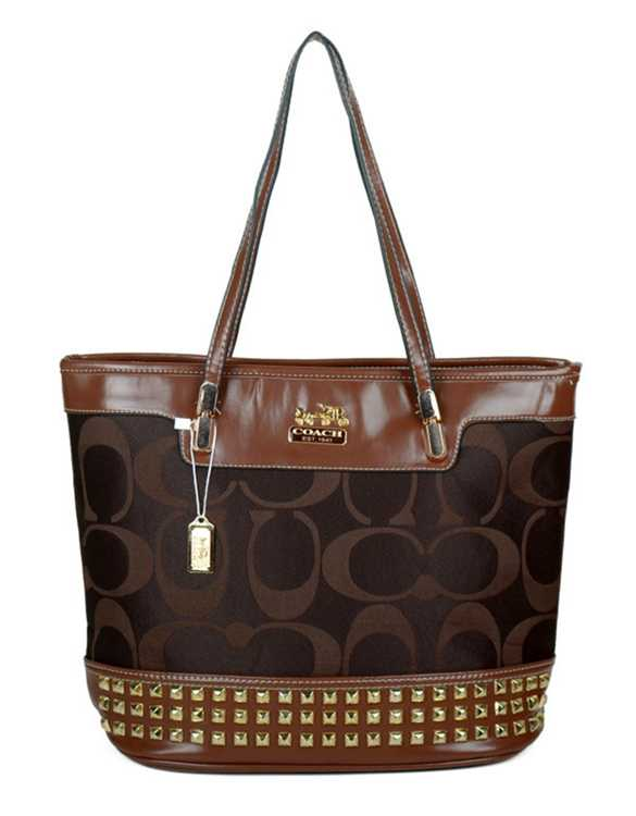 Coach Signature Chocolate Poppy Handbag