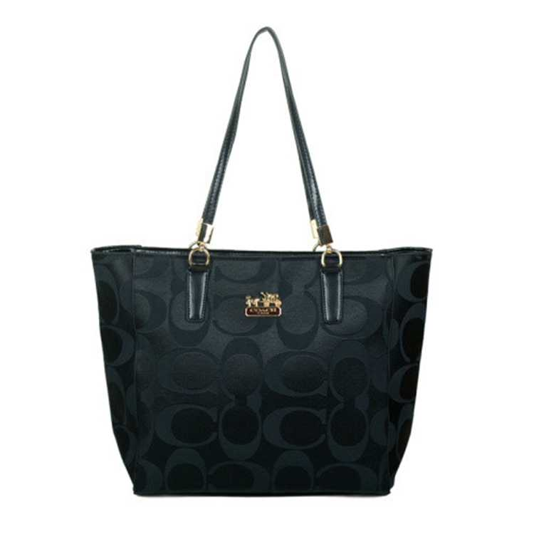 Signature Black Coach Poppy Handbag