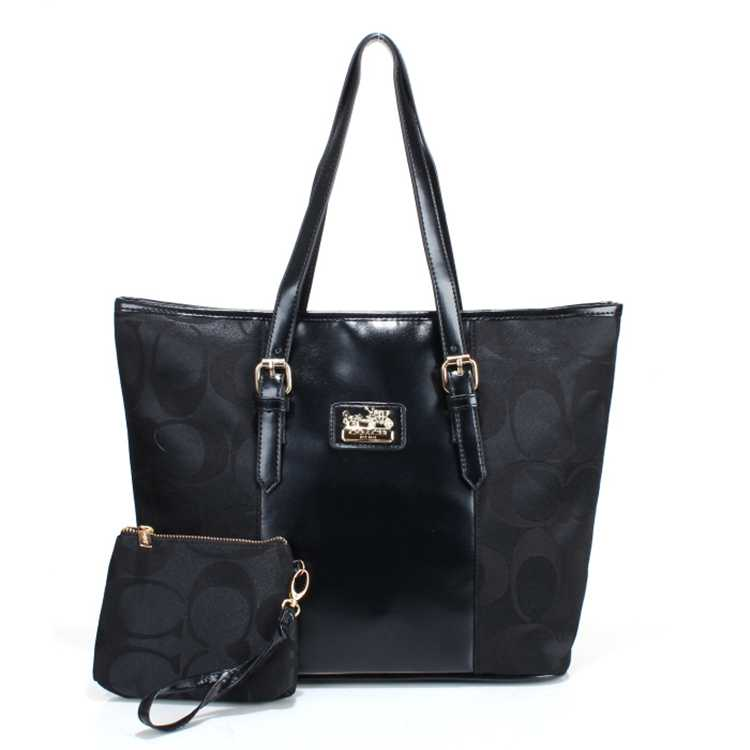 Coach Poppy Signature Black Handbag