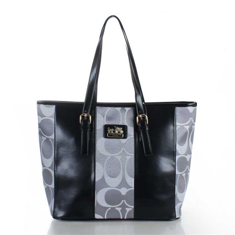 Black Gray Coach Poppy Handbag