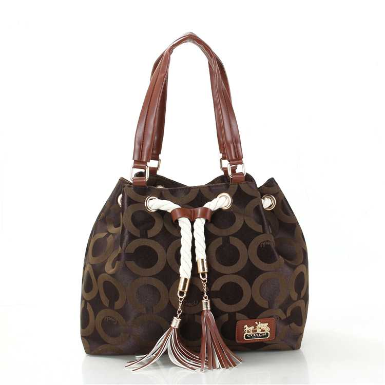 Coach Circle Brown Poppy Handbag