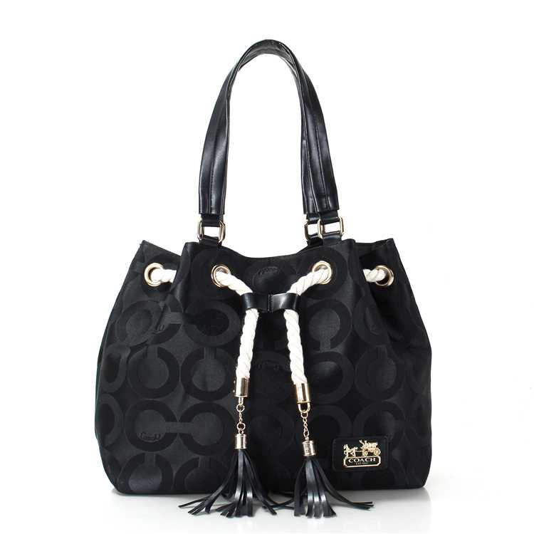 Coach Circle Black Poppy Handbag