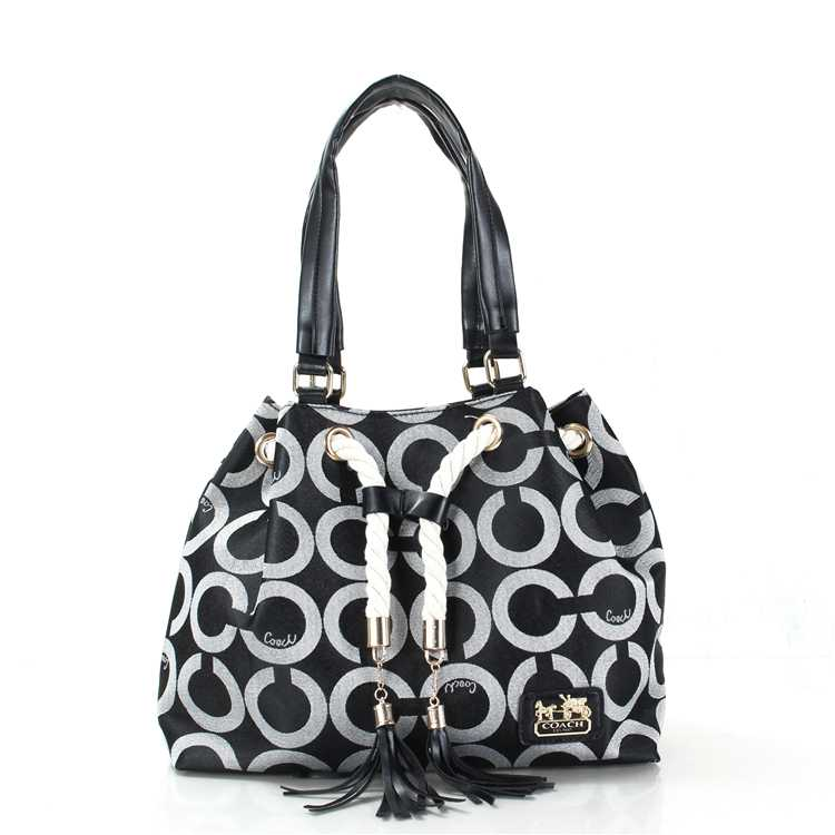Coach Circle Gray White Poppy Handbag