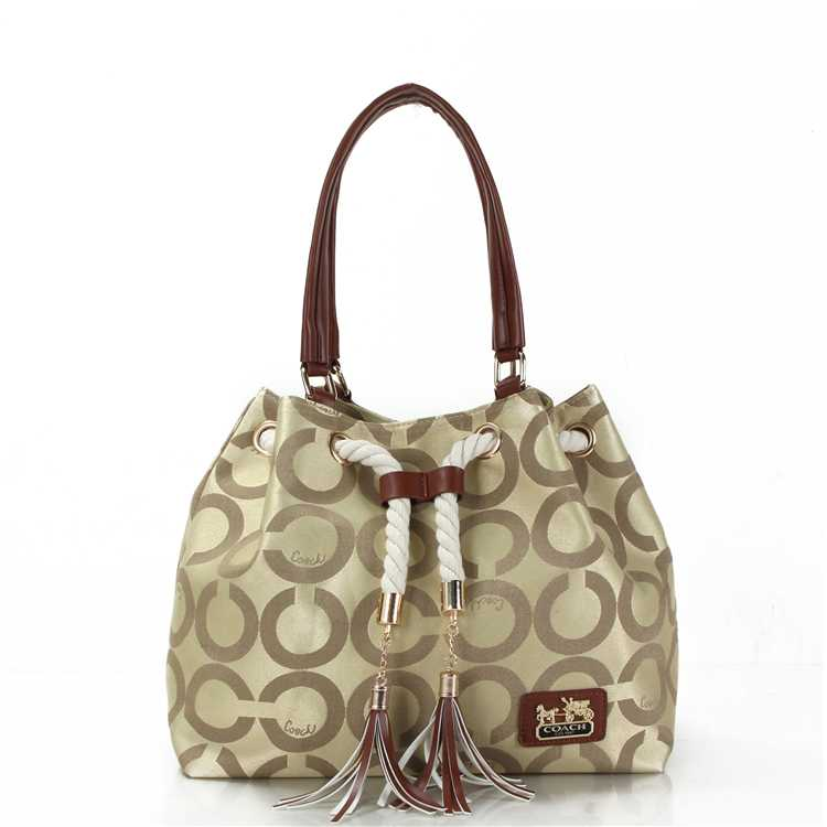 Coach Circle Apricot Poppy Handbag