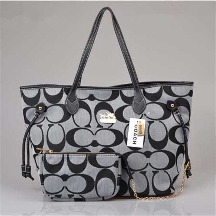 Grey Black Coach Poppy Handbag