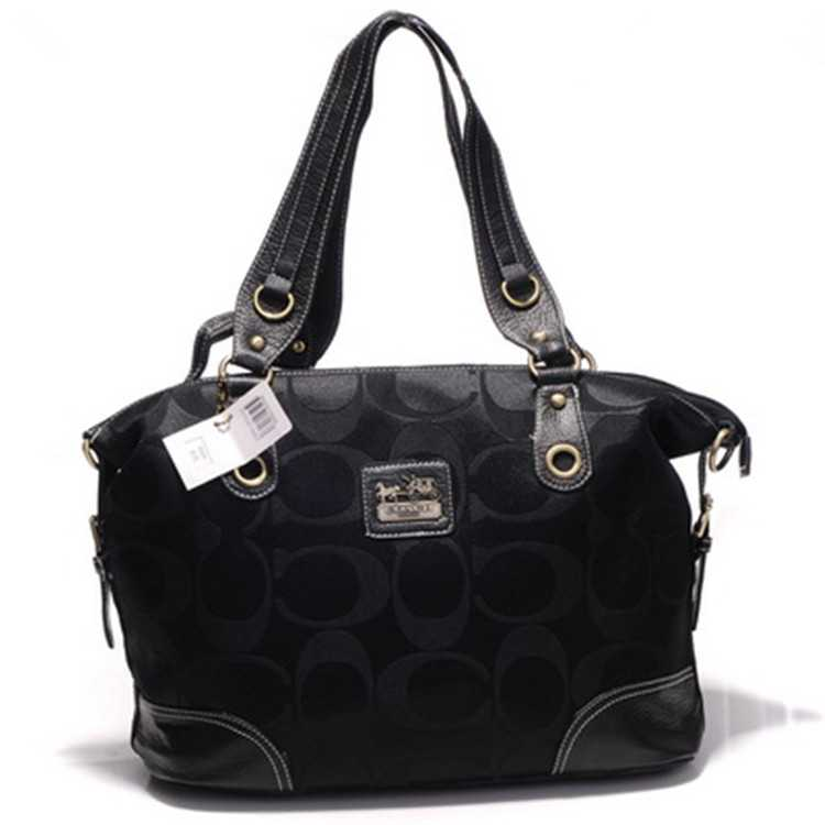 Signature Black Poppy Handbag Coach