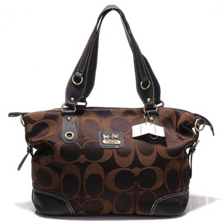Signature Chocolate Poppy Handbag Coach